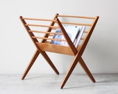 danish modern wood magazine rack