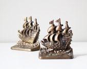 vintage cast iron ship bookends / nautical decor