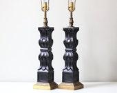 vintage black table lamp set / classic rococo decor