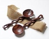 carved wood spoon set / salad servers