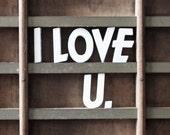 i love u / vintage push pins / ceramic letter