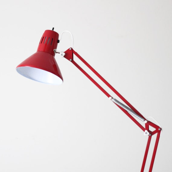 anglepoise style red desk lamp