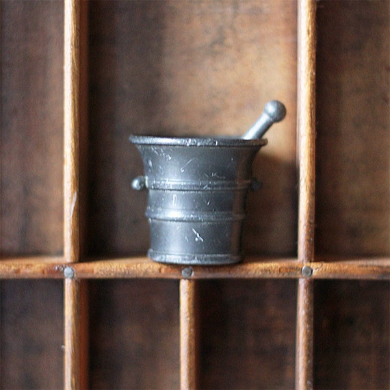 vintage miniature mortar and pestle