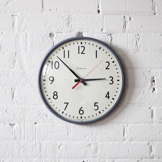 school wall clock - classroom - simplex - industrial decor