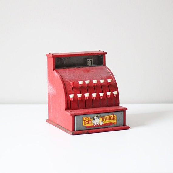 vintage Tom Thumb red register / mid century child's toy