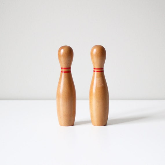 vintage bowling pin set / wood salt and pepper shakers