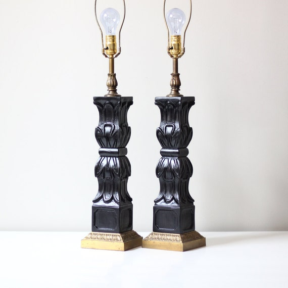 vintage black table lamp set / classic rococo decor