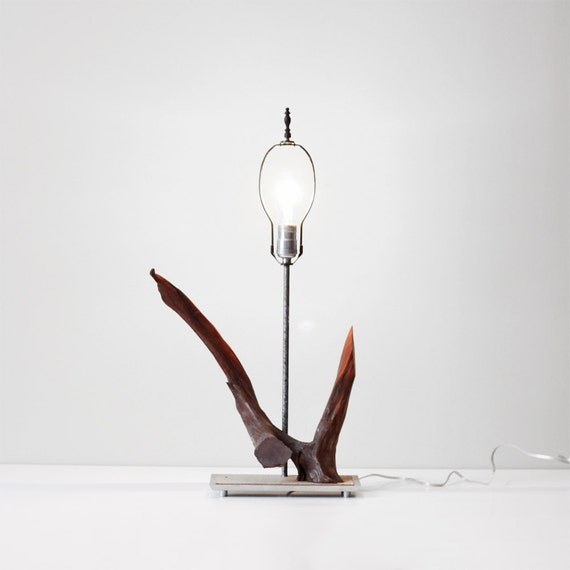 vintage modern driftwood lamp