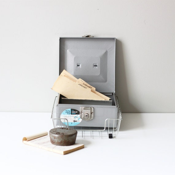 SALE // vintage desk collection - office accessory - metal check file - wire basket - weight - paper pad