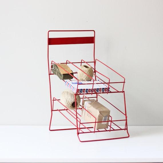 vintage store display rack / divided red rack / industrial storage