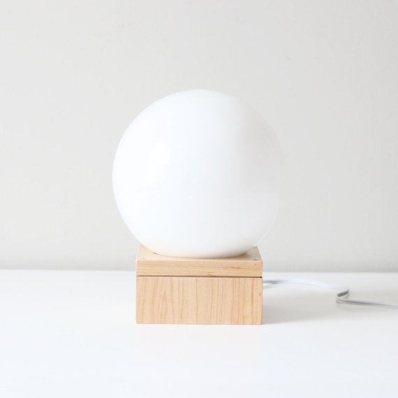 modern orb table lamp / glass sphere accent light