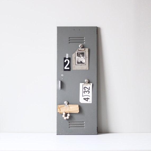 vintage locker cabinet door / salvaged industrial decor
