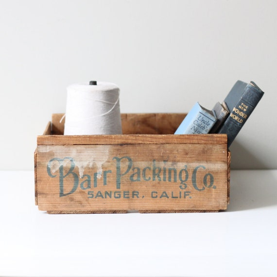 vintage wood packaging crate / industrial box storage