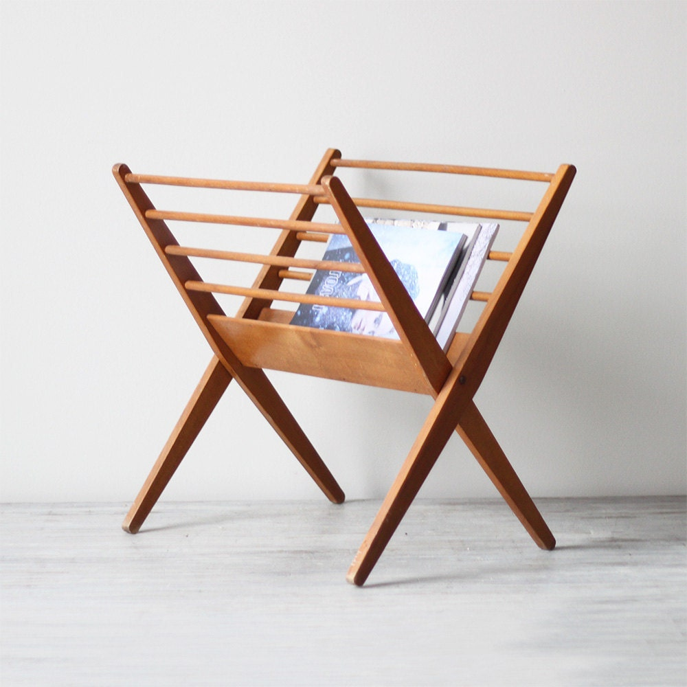 Wood Magazine Rack ~ Danish modern wood magazine rack by hruskaa on etsy