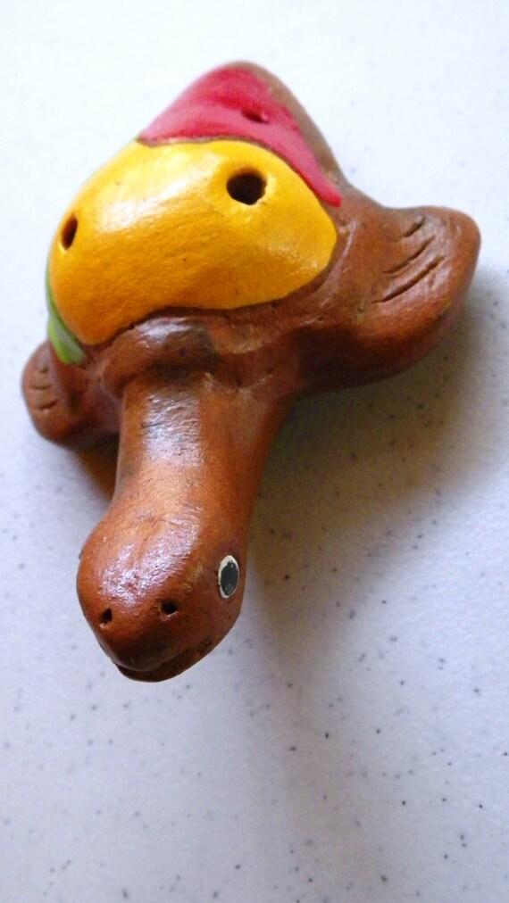 Long Neck Turtle Ocarina- Handmade - Clay - OOAK