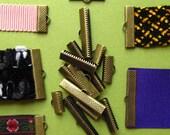 Antique Bronze Ribbon Clamps - Ribbon Crimps - Assortment of sizes