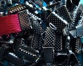 144pcs. 10mm or 3/8 inch Black Chrome or Gunmetal Ribbon Clamp End Crimps
