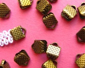 20pcs. 6mm or 1/4 inch Antique Bronze Ribbon Clamp End Crimps