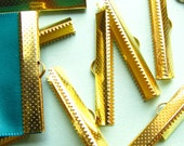 12pcs. 38mm or 1 1/2 inch Gold Ribbon Clamp End Crimps