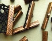 12pcs. 30mm or 1 3/16 inch Antique Copper Ribbon Clamp End Crimps
