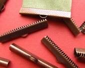 12pcs. 38mm or 1 1/2 inch Antique Copper Ribbon Clamp End Crimps