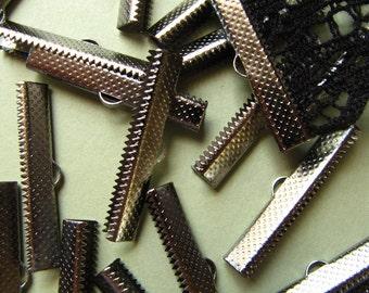 12pcs. 35mm or 1 3/8 inch Black Chrome Gunmetal Ribbon Clamp End Crimps