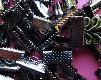 144pcs. 13mm or 1/2 inch Gunmetal or Black Chrome Ribbon Clamp End Crimps