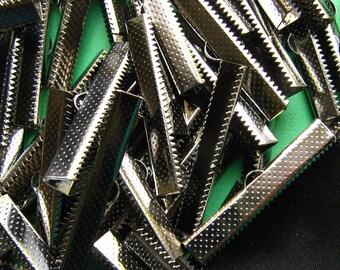 144pcs. 38mm or 1 1/2 inch Black Chrome Gunmetal Ribbon Clamp End Crimps