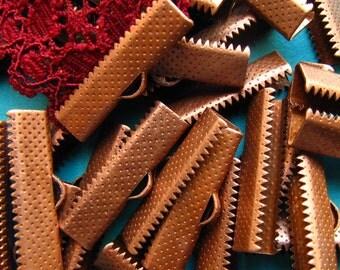 144pcs. 25mm or 1 inch Antique Copper Ribbon Clamp End Crimps