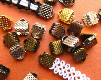 500pcs. 6mm or Quarter inch Ribbon Clamps with Loop -- Silver, Gold, Gunmetal, Antique Bronze, Antique Copper
