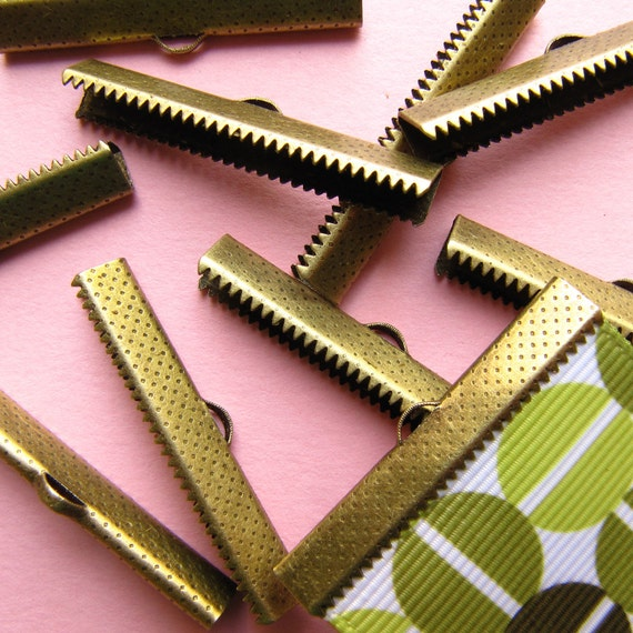 12pcs. 38mm or 1 1/2 inch Bronze Ribbon Clamp End Crimps
