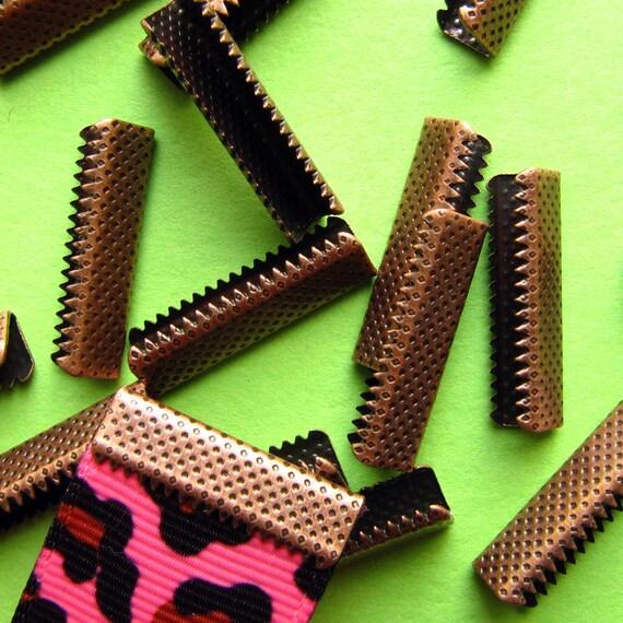 16pcs. 22mm or 7/8 inch Antique Copper No Loop Ribbon Clamp End Crimps