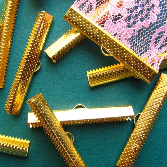 10pcs. 40mm or 1 9/16 inch Gold Ribbon Clamp End Crimps