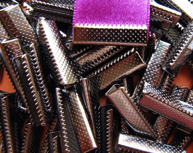 144 pieces 22mm or 7/8 inch Gunmetal Ribbon Clamps without Loop