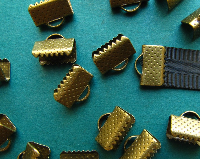 20pcs. 10mm or 3/8 inch Antique Bronze Ribbon Clamp End Crimps
