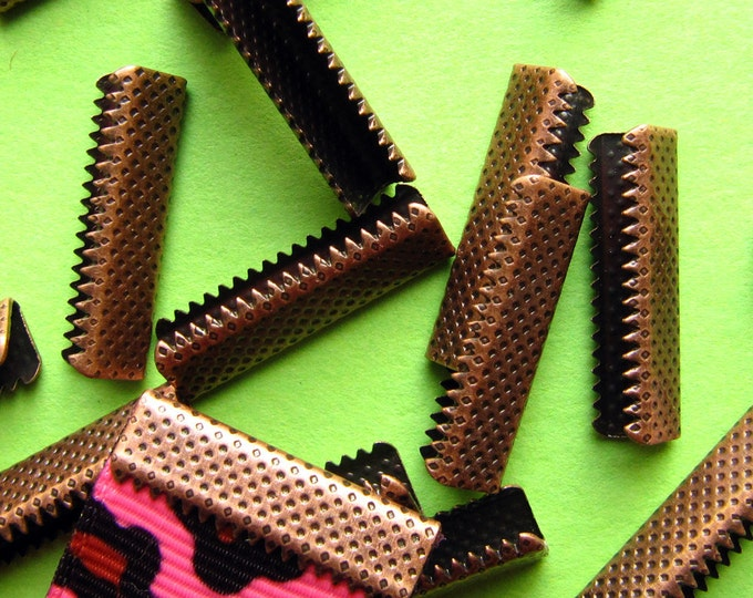 16 pieces 22mm or 7/8 inch Antique Copper No Loop Ribbon Clamp End Crimps