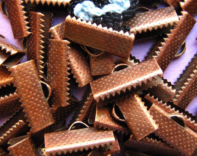 144pcs. 16mm or 5/8 inch Antique Copper Ribbon Clamp End Crimps