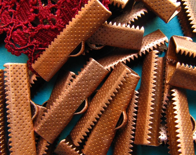 144pcs. 25mm or 1 inch Antique Copper Ribbon Clamp End Crimps