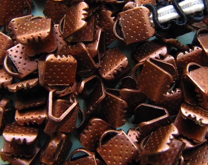144pcs. 6mm or 1/4 inch Antique Copper Ribbon Clamp End Crimps