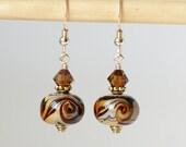 Coffee Swirl Lampwork Earrings