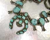 RESERVED - ON HOLD Vintage Squash Blossom Necklace Silver and Bisbee Turquoise Native American Heard Museum