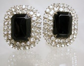 Black Glass and Rhinestone Earrings Use XMASJULY2012 for 20% off this item