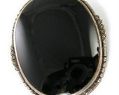 Victorian Onyx and Sterling Silver Brooch