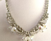 White Rhinestone Necklace with Dangling Crystals