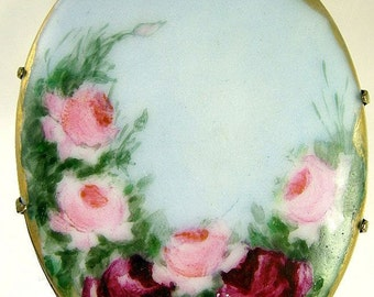 Victorian Hand Painted Porcelain Brooch with Red Roses