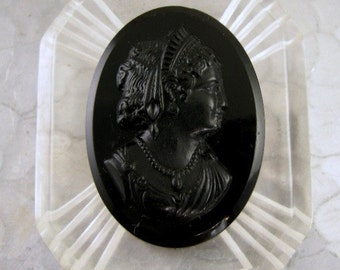 Vintage Cameo Clear Carved Lucite and Black Celluloid