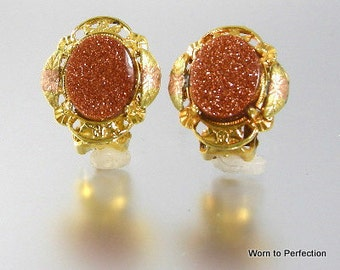 Vintage Black Hills Tri-Color Gold Earrings with Goldstone