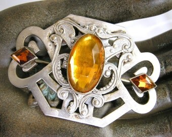 Victorian Sash Pin with Amber Colored Glass