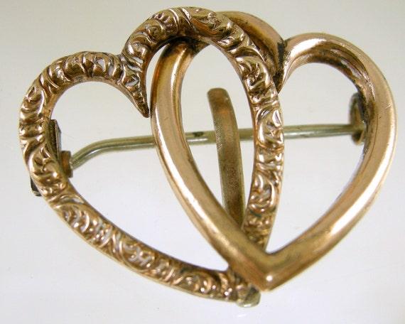 Victorian Double Heart Brooch