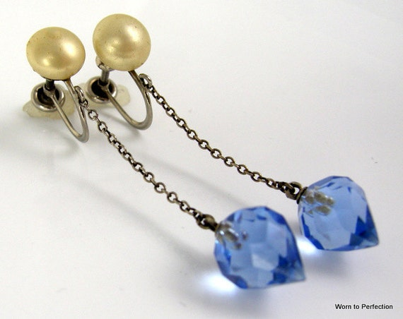 Art Deco Long Dangling Blue Glass Earrings